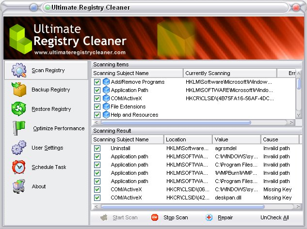 Ultimate Registry Cleaner screenshot: RegClean, registry cleaner, clean registry, speed computer, opti